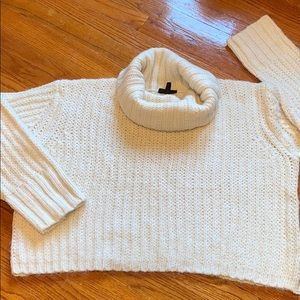 Top Shop Alpaca blend shaker-knit cropped cowl.